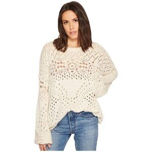 Free People Traveling Lace Sweater Ivory Size S